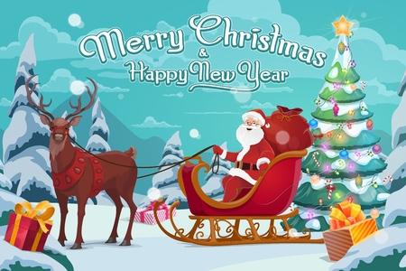 Weihnachtsmann auf Schlitten, Weihnachtsgeschenke und Polarhirsch im Geschirr. Vektor verzierter Weihnachtsbaum, Kästen mit Bögen, Winterferienfeier. Wald- und Feenfigur, die Geschenke liefert, wildes Tier