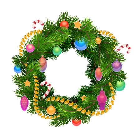 Christmas wreath with balls, decoration and ornaments. Vector Xmas tree wreath of fir and pine with confetti tinsel, golden stars, balls or cones and candy canes