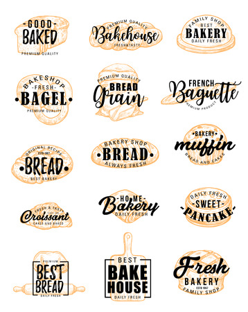 Vector bakery products and bread with pastry food silhouettes and lettering. Bakehouse and bagel, grain and baguette, muffin and croissant, pancake and challah. Wheat meals of dough symbols Illustration