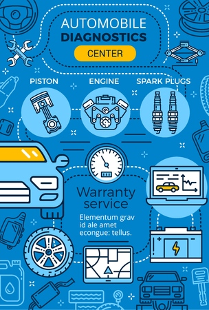 Car service and auto mechanic garage repair center, vector. T ire fitting or automotive maintenance of vehicle muffler, piston and engine, tow truck and lug wrench. Garage, diagnostics station Illustration