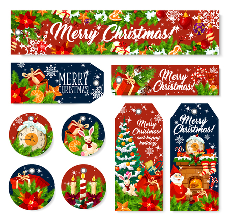 Merry Christmas holiday banners and gift tag. Vector Xmas tree, Santa and present, holly berry garland, candle and snowflake, ribbon bow, star and ball, clock, sock and cookie. Winter holidays