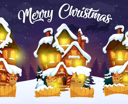 Night village, Merry Christmas greeting card. Houses with light in windows and snowman with firs behind fence. Homes in snow decorated with garlands and door wreath of Xmas tree branches vector  イラスト・ベクター素材