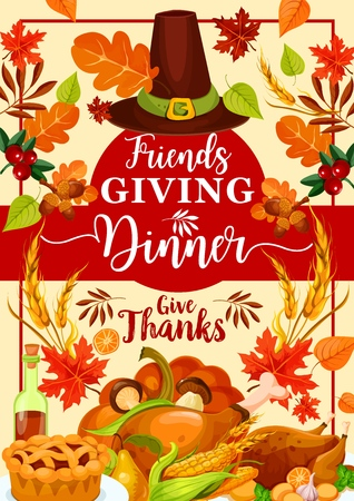 Friendsgiving Day, giving thanks on dinner with friends, traditional autumn holiday. Vector roasted turkey and chicken, pumpkin and pie. Fall harvest, maple syrup and mushrooms, wheat and cranberry  イラスト・ベクター素材