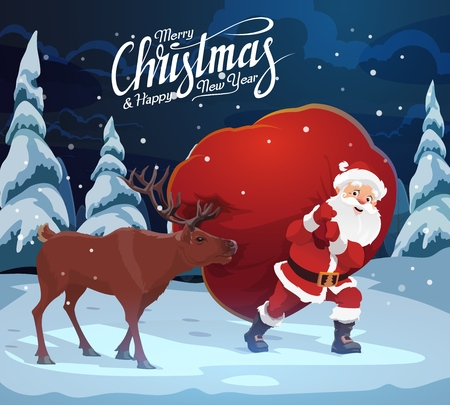 Santa Claus carrying bag of Christmas gifts, reindeer helping. Vector fairy character with presents in forest, winter holiday card. Wild animal and elderly man in woods, spruce or fir Stok Fotoğraf - 111264393