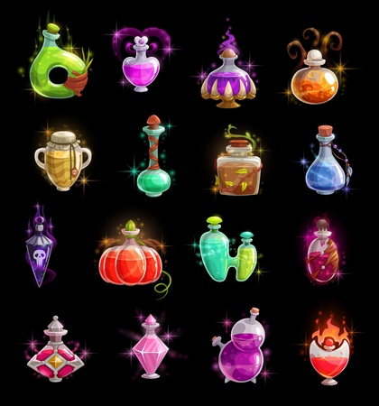 Halloween witch potion vector bottles. Magic poison colorful liquid in glass jars and vials with corks, snake and skull, sparkles, smoke and fire flames. Autumn horror holidays, vector icons
