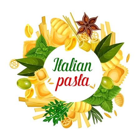 Italian pasta poster with ravioli, gnocchi or ditalini and rotelle macaroni, tortellini or oregghiette. Vector pasta cooking olive and basil ingredient, Italian traditional cuisine or restaurant menu Zdjęcie Seryjne - 111265919