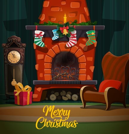Chimenea de Navidad en el interior de la habitación con regalos de vacaciones de invierno de Navidad y año nuevo, medias de Santa y guirnalda de abeto, sillas, reloj y vela, acebo y campana. Diseño de vector de feliz Navidad