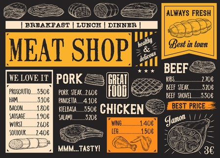 Meat product sketches on chalkboard. Vector beef steak and sausage, ham and pork bacon, salami and gamon, frankfurter and pepperoni, chicken. Butcher shop menu for breakfast, lunch or dinner Archivio Fotografico - 128161838