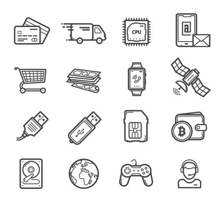 Smart technology devices and digital innovation industry icons. Vector linear gadgets and credit card, delivery truck and computer, CPU chipset and smartphone shopping card, hard drive and satellite Illustration