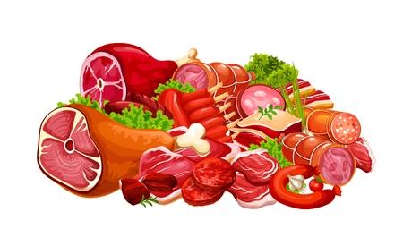 Boucherie viande de boeuf et produits de porc. Vector ferme boucherie grill côtes d'agneau ou menu magasin saucisses et bacon ou jambon avec salami et pepperoni avec cuisson des épices alimentaires