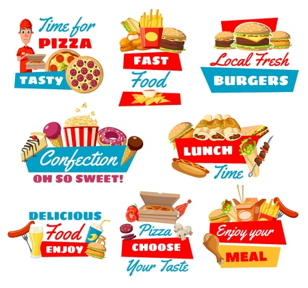 Fast food vector symbols with pizza, cheeseburger and hamburger, popcorn and soda drinks, ice cream and cake, doughnut and popcorn, hot dog and french fries, doner and sandwich, barbecue and coffee