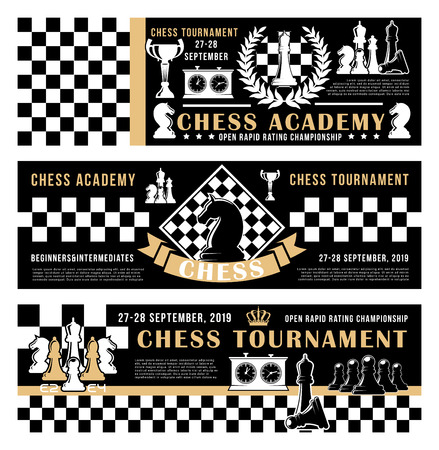 Chess academy or tournament and championship. Vector banners of horse and bishop, queen and pawn, rook and king crown on chessboard strategy. Background with score clock on