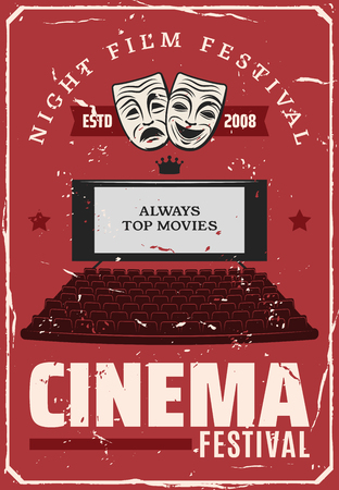 Cinema festival or movie premiere retro poster. Vector vintage cinema theater hall with chairs and projection screen with comedy and tragedy masks, cinematography award stars Illustration