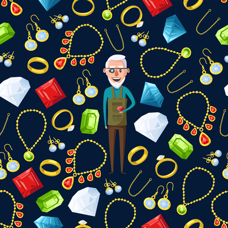 Jeweler or jewelry pattern background. Vector seamless design of man expert appraiser or goldsmith with gems, golden rings and necklaces, diamond earrings with ruby, sapphire and emerald crystals