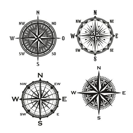 Rosa de los vientos, símbolo de la brújula de navegación náutica, tema marino y marino. Iconos vectoriales de navegante de vela de barco con punteros de flecha de dirección hacia el este, oeste o norte y sur