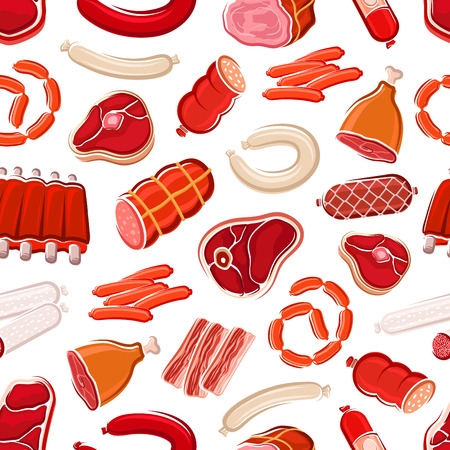 Meat pattern of pork, beef and sausages on seamless background. Vector butcher meat products, bacon or ham and lamb ribs barbecue , salami and pepperoni or beefsteak sirloin 스톡 콘텐츠 - 128161845
