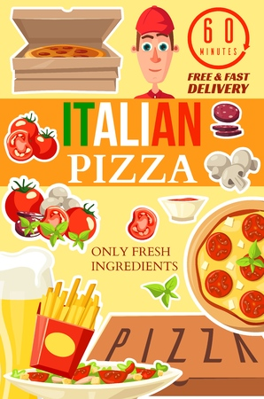 Italian pizza delivery poster for pizzeria fast food cafe or restaurant. Vector of pizza delivery man with box of margherita or capricciosa. Ingredients tomato and salami, pepperoni and mushrooms