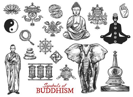 Symboles de croquis religieux du bouddhisme. Image vectorielle bouddha moine mudra dans la méditation zen, signe de poisson Yin Yang ou éléphant sacré et lotus avec sanctuaire stupa et croix gammée ou roues de prière du culte bouddhiste