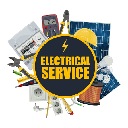 Electrical service, electrician repair tools and engineer equipment. Vector solar panel battery, electric counter and light bulbs, hard hat and tester, light switcher in socket and voltmeter Illustration