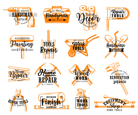 Work tools sketch lettering, home repair works and house renovation store. Vector ceramic tile cutter, plastering spatula or wallpapers and paint sprayer, carpentry plane or woodwork screwdriver Illusztráció