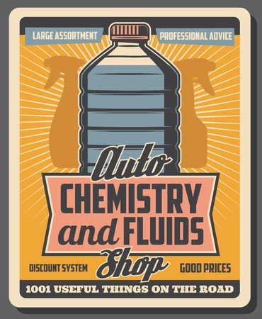 Car service or garage station signboard. Vector antifreeze bottle, auto chemistry and fluids replacement service, vintage style illustration