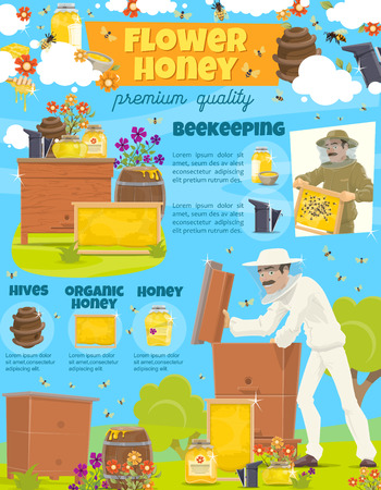Honey beekeeper at beehive poster. Vector beekeeping profession man at apiary taking organic natural honey, cartoon design of honey bees swarm in honeycomb and flowers Banco de Imagens - 128161849