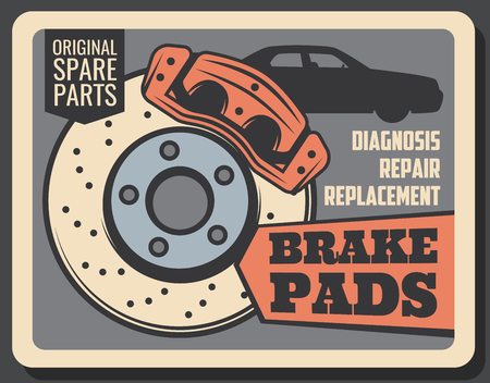 Car service, vehicle garage station vintage poster. Vector retro design of brake pads replacement, car diagnostics, spare parts, tuning and mechanic restoration