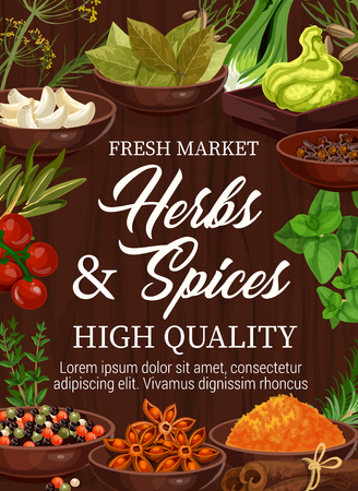 Spices and herbs market, seasonings and cooking flavorings. Vector garlic, bay or sage leaf and wasabi with celery, leek and anise star, pepper or turmeric, saffron and curry