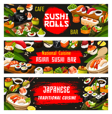 Japanese sushi bar banners for Asian national cuisine restaurant menu. Vector Japan traditional food dishes of sashimi roll with seafood, unagi maki or seaweed salad with wasabi, rice and chopsticks Illustration