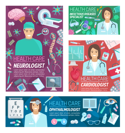 Medical neurology, cardiology and ophthalmology medicine clinic and infectious diseases. Vector cardiologist, neurologist and ophthalmologist doctors with treatment, tools and human organs