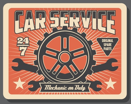 Car service and auto spare parts shop. Vector vintage design of engine cogwheel and vehicle wrench tools, transport mechanic garage station and everyday repair and tuning service