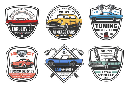 Car service and garage station icons. Vector retro badges of vehicle diagnostics, car mechanic tuning or restoration, wrenches and spare parts of engine, piston and spark plug shop Stock Vector - 111533781