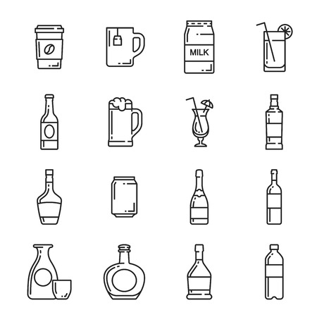 Drinks and beverages vector icons. Coffee and tea cup, milk pack and beer mug or can, cocktail glass and alcohol drink bottle of whiskey or brandy cognac with vodka and champagne or wine