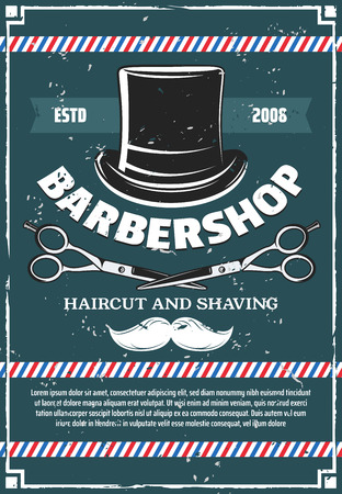 Barbershop salon premium retro poster design. Vector barber shop beard and hair salon vintage banner with hipster mustaches and gentleman hat with scissors