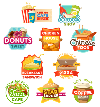 Fast food pizza, snacks and beverage vector icons. Vector Chinese noodles, burger and pizza, donut dessert and sandwich, coffee and chicken nuggets, tacos and popcorn