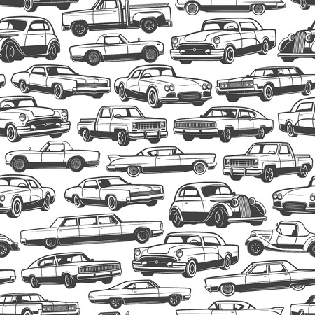 Old car or vintage retro automobile pattern background. Vector seamless design of auto transport limousine or hatchback and pickup truck vehicle or antique collector and veteran auto models Ilustração