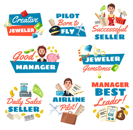 Businessman or clerk, jeweler and supermarket seller, pilot profession icons. Vector peoples with work items of jewelry gemstones, airport elements, store equipment, money and credit card, shop cart Ilustração