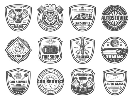 Auto service, spare parts and car garage station vector icons. Mechanic diagnostics and car tuning vector symbols, engine restoration, oil change, tire fitting and pumping, brakes replacement Stock Vector - 111533785