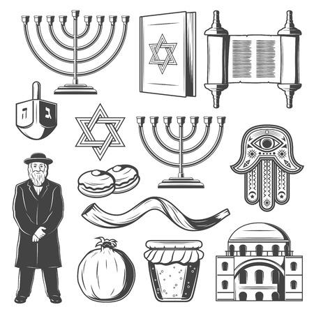 Símbolos religiosos del judaísmo. Vector iconos de religión judía del candelabro de Hanukkah Menorah Hanukiyot, David Star o rollo de Torá y cuerno de Shofar, dreidel y sacerdote rabino judío con amuleto de mano de hamsa