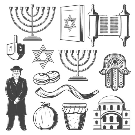 Judaism religious symbols. Vector Jewish religion icons of Hanukkah Menorah Hanukiyot lampstand, David Star or Torah scroll and Shofar horn, dreidel and Jew rabbi priest with hamsa hand amulet