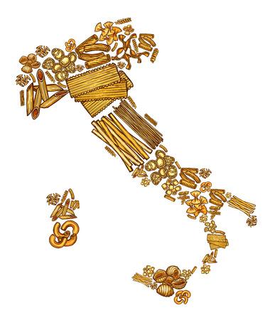 Homemade pasta in Italy map, sketch design. Vector Italian cuisine food pasta bucatini and spaghetti, fettuccine and capellini, tagliatele and ravioli, lasagna and linguine, penne and macaroni