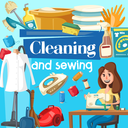House cleaning, sewing service. Vector woman household with vacuum cleaner at sewing machine, iron and detergent soap, brush and glass polisher, linen and washing powder, wash basin