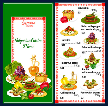 Bulgarian cuisine traditional Balkan menu. Vector moussaka, lutenica or cabbage salad and soup, seafood, panagyur or panagyurishte with rabbit and mushrooms, bryndza paste food