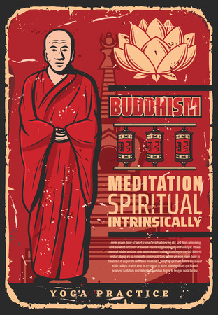 Buddhist monk with lotus in spiritual meditation, vintage poster. Vector Buddhism religious symbols of Buddha temple and prayer wheels of Buddhist worship Illusztráció