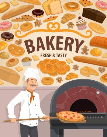 Bäckerei und Bäckermann am Ofen oder Feuerofen backen Pizza auf Holzspatel. Vektor gebackene Brot- und Gebäckdesserts mit süßen Kuchen und Keksen, Weizen-Bagel-Donut und -Brötchen, Croissant und Muffinuff Vektorgrafik