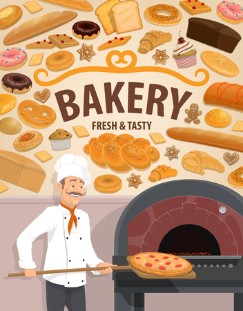 Bakery shop and baker man at oven or fire furnace baking pizza on wooden spatula. Vector baked bread and pastry desserts with sweet cakes and cookie, wheat bagel donut and bun, croissant and muffin