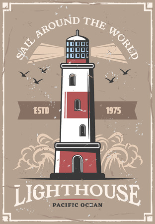 Lighthouse and seagulls on retro poster. Vector nautical adventure and sea or ocean sail and seafarer trip grunge design of ocean waves with ship navigation light beacon