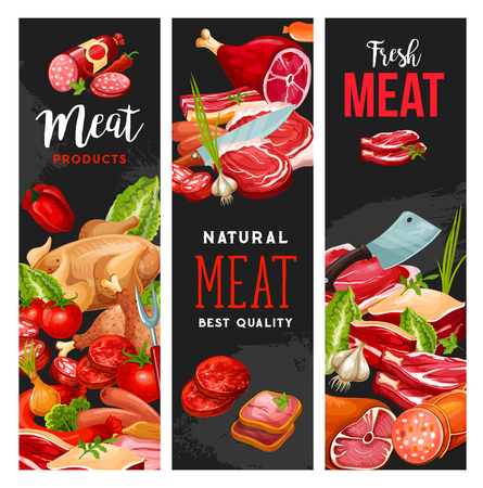 Meat products, butcher shop or gourmet farmer store. Vector chicken or turkey grill, pork bacon, wurst, brisket and beef steak with cutlets, ham or mutton ribs, sausage and seasonings