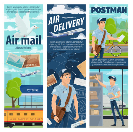 Air mail delivery and mailman profession, postage logistics. Vector cargo airplane and train freight shipping parcel boxes with newspaper, magazines and letter envelopes