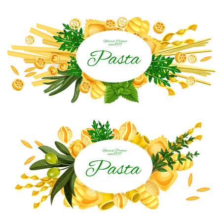 Italian pasta banners, traditional Italy cuisine restaurant or cooking design. Vector spices and herbs with pasta farfalle, orzo or rigatoni and penne with fusilli, maccheroni and linguine, spaghetti